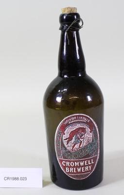 Dark green glass beer bottle; Unknown maker; Unknown; CR1988.023
