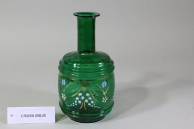 Victorian green glass vase; Unknown maker; Unknown; CR2008.008.28