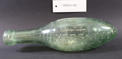 Torpedo-shaped glass bottle; Theyers & Beck, Alexandra; Unknown; CR2012.103