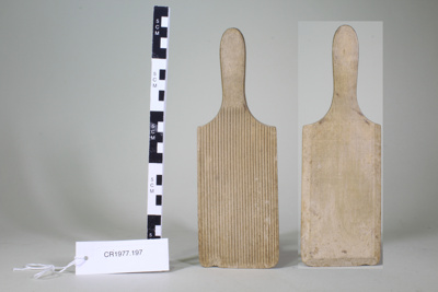 Wooden butter pat; Unknown maker; Unknown; CR1977.197
