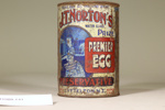 Tin can formerly containing egg preservative; Unknown maker; Unknown; CR1988.141