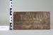 Brass plaque; Unknown maker; Unknown; CR2003.079