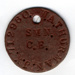 The identity disc (dog-tag) of Wilfred Arnold Thurman JX712960.  He was a boy at HMS St. George in 1945, whilst the training of boy seamen had been transferred there from HMS Ganges for the war.; SHHMG:A9106