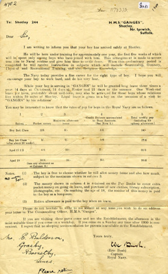 A letter from the Captain to the parents of Ernie Balderson in 1946.; SHHMG:A5380