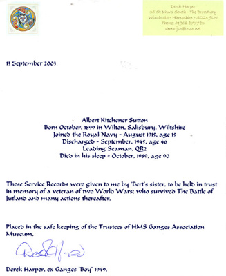 Letter from Derek Harper, ex-HMS Ganges 1949, about donating records of Herbert Kitchener Sutton, Served in Royal Navy from 1915 to 1945 ; 13.9.2003; SHHMG:A5366.10