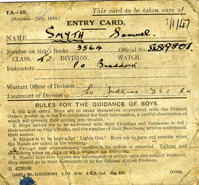 An Entry Card for Samuel Smyth JX819801, Ship's Book Number 3564, Class T2, issued January 1947.; SHHMG:A350