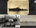 A montage of 3 photographs, 2 of HMS Concord, D03,  during the Korean war and a postcard showing a relief map of Japan, China, Korea and USSR with HMS Concorde inset and 2 unidentifed portraits.; photographer; SHHMG:A4604