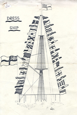 3 single pages of Dress Ship Procedure; Donoghue, M.S.; 1968 = 1970; SHHMG:A2638