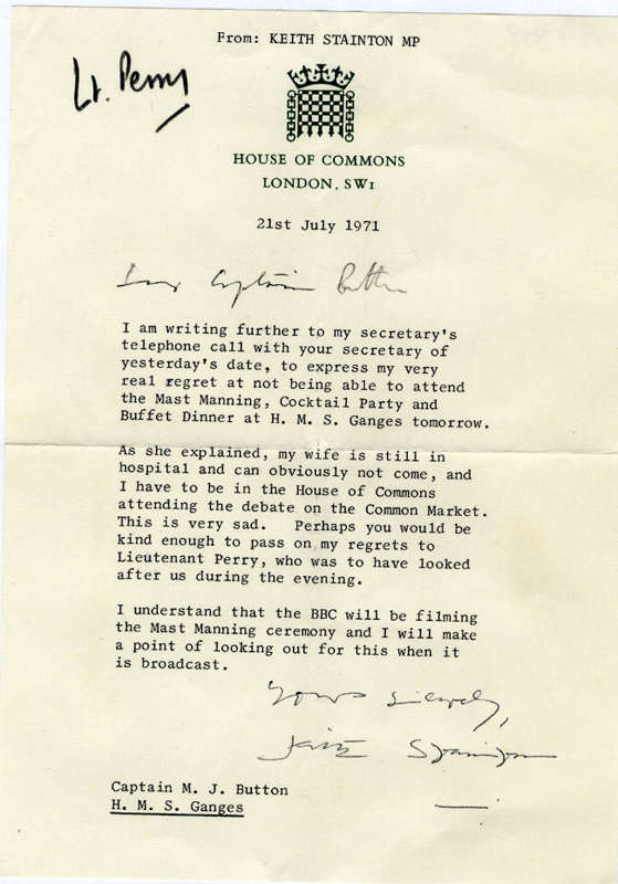 Letter from Keith Stainton MP to Captain Button about missing the