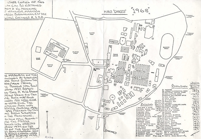 sketch map of HMS Ganges site done in 1968.; SHHMG:A1034 on eHive