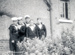 photograph of 5 boys outside Mess Deck in 1947.; photographer : unknown; SHHMG:A314