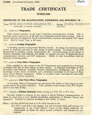 Trade Certtificate (wireless) for David John Patrick Fitzgerald Rye, Leading Telegraphist; SHHMG:A401