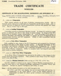 Trade Certtificate (wireless) for David John Patrick Fitzgerald Rye, Leading Telegraphist; SHHMG:A401