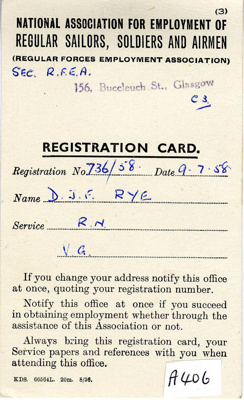 Registration Card for David Rye issued by National Association for Employment of Regular Sailors, Soldiers and Airmen dated 9th July 1958; SHHMG:A406