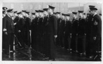 photograph of 301 Class (Signalmen in training), Grenville Division on inspection by Commander during Sunday Divisions; photographer : unknown; SHHMG:A544
