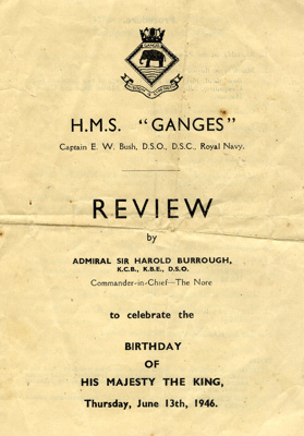 Front page of the programme of the Review to celebrate the birthday of His Majesty the King on Thursday, June 13th, 1946.; SHHMG:A341