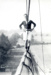 photograph of Bob Avery on yard arm of mast at HMS Ganges in 1947; photographer : unknown; SHHMG:A310