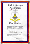 Life Membership Certificate of the HMS Ganges Association awarded to R.W. Smith who joined Ganges as a Boy in 1936.; SHHMG:A3940