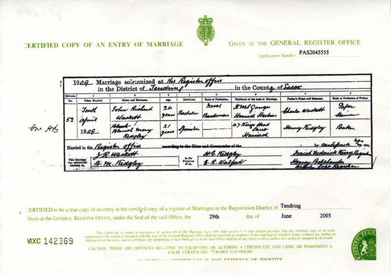 Photocopy of the Marriage Certificate of Blanch Mary Kedgley to John ...