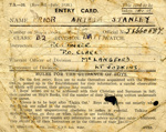 Entry Card for Arthur Stanley Prior JX660587; SHHMG:A338