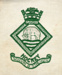 HMS Ganges hockey crest embroidered on fabric and given to boys who represented HMS Ganges at hockey to sew on to sports shirt.; SHHMG:A1111