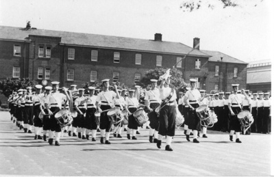Photograph of the bugle band; photographer : unknown; SHHMG:A517