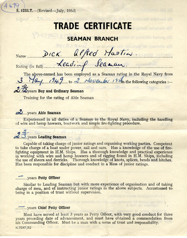 Trade Certificate Seaman Branch Issued To Leading Seaman Alfred