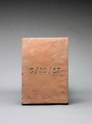 Tile with 3/10/87 stamped on it; Barry Brickell 1935-2016; 1987; DCR-2017-77