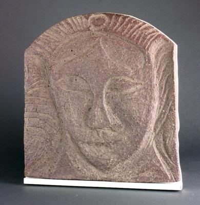 Incised Clay mask, mounted onto a white Melamine shelf; Tony Fomison 1939-1990; c.1988; DCR-2016-025