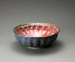 Bowl with ribbed sides, red interior and decorated rim; Barry Brickell 1935-2016; 2010; DCR-2017-105