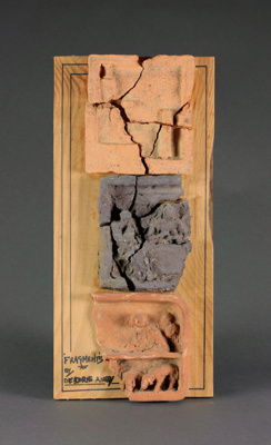 Fragments of Deidre Airey pottery mounted onto wood; Lindsay Garmson; Unknown; DCR-2016-081