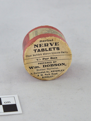 Small Pill Box with Printed Label: Medical Nerve Tablets; W M Dobson, Medical Herbalist; 1930s; H2013.005