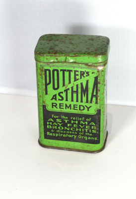 Small tin with Prise-off Lid with printed Label: Potter's Asthma Remedy; Potter's & Clark Limited, 60/64 Artillery Lane, London; 1940s; H2011.015