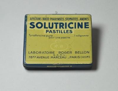 Small Pharmaceutical Sweet Pocket Tins: Altoids, Solutricine, Horlicks Tablets; Laboratoire Roger Bellon, S.A.R.L.; 1960s; H2013.001G(a-d)