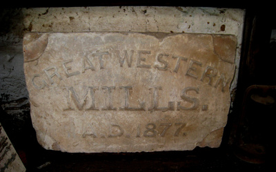 Foundation Stone, Great Western Mills; 1877