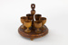 Wooden egg cups and carry tray; 00310.1-.7