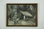 People outside a wooden hut with dog photographic print; Jon Sanders; 05133