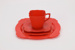 Bakelite cup, saucer, side plate and dinner plate set; Peter Pan; mid - late 1930s; 00501.1-.4