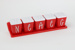 Spice rack with five containers; Gay Plastics Ltd; 1950 - 1965; 00499.1-.6