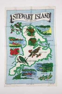 Souvenir Stewart Island tea towel; 00694