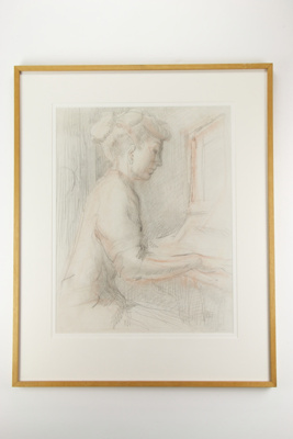 Woman player a piano sketch; Olivia Spencer Bower; 05116