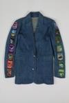 Denim jacket with New Zealand badges; Peppertree; 00008
