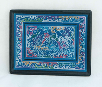 Decorated Mexican tray - multi coloured pattern; Unknown; JR00116.4