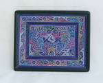 Decorated Mexican tray - multi coloured pattern; Unknown; JR00116.3
