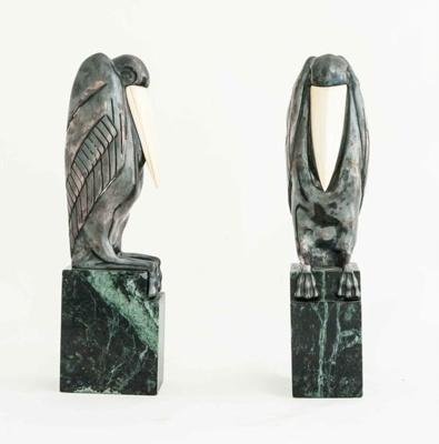 Art Deco Chryselephantine Bookends ; Marcel-André Bouraine; JR00135