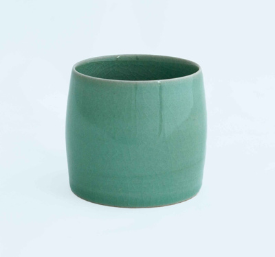 Greenware ceramic barrel shaped lidless pot; Pangy Kim; JR00113.4