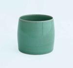 Greenware ceramic barrel shaped lidless pot; Pangy Kim; JR00113.4