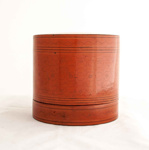 Burmese Round Orange Laquerware Box - Betel Nut box (Kun it); JR00188