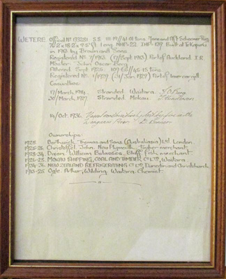 Certificate, Owners of S S Wetere; 2020.018