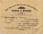 Certificate of Proficiency; New Zealand Education Department; 24th October 1914; ARC2011-230